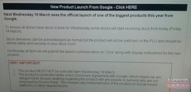 Leaked Screenshot showing Chromecast UK release details