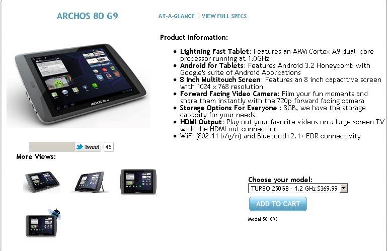 Archos 80 G9 250GB