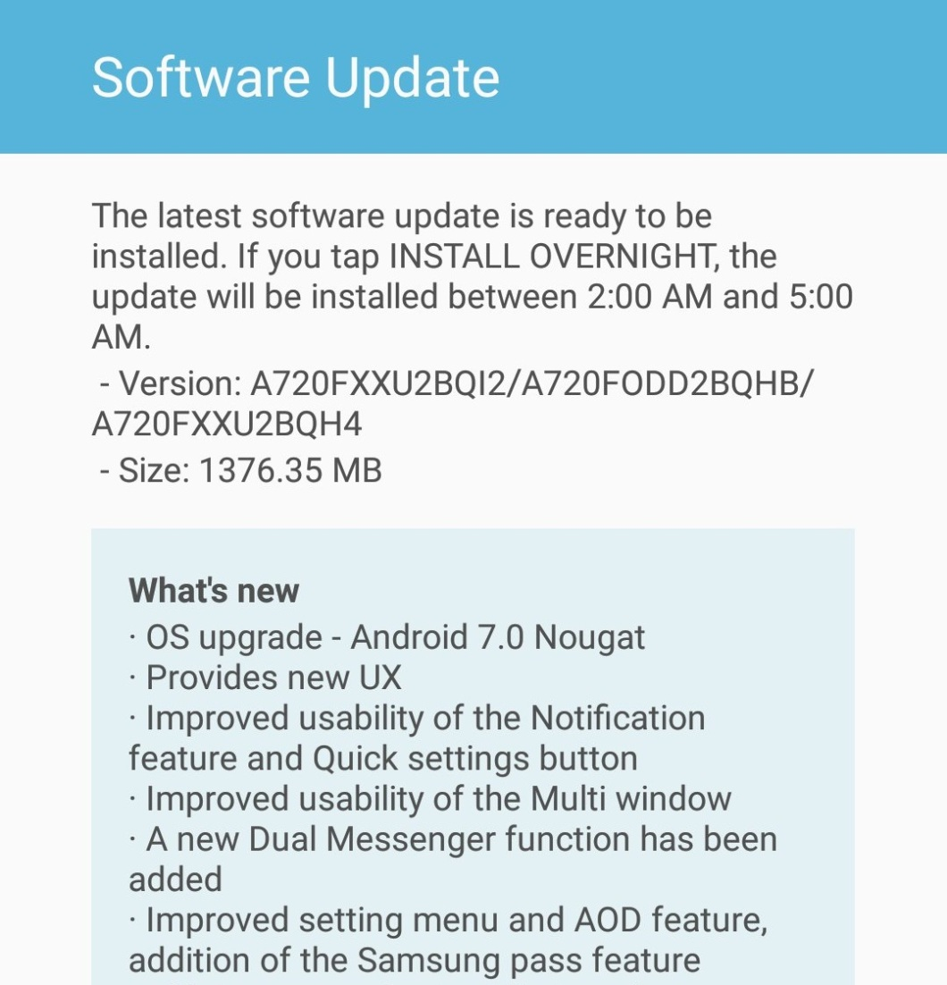 Samsung Galaxy A7 2017 Android 7 Nougat Update