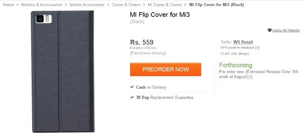 Mi 3 flip cover pre-order