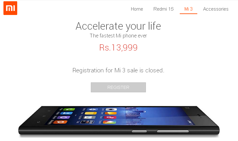 Xiaomi Mi sale closed