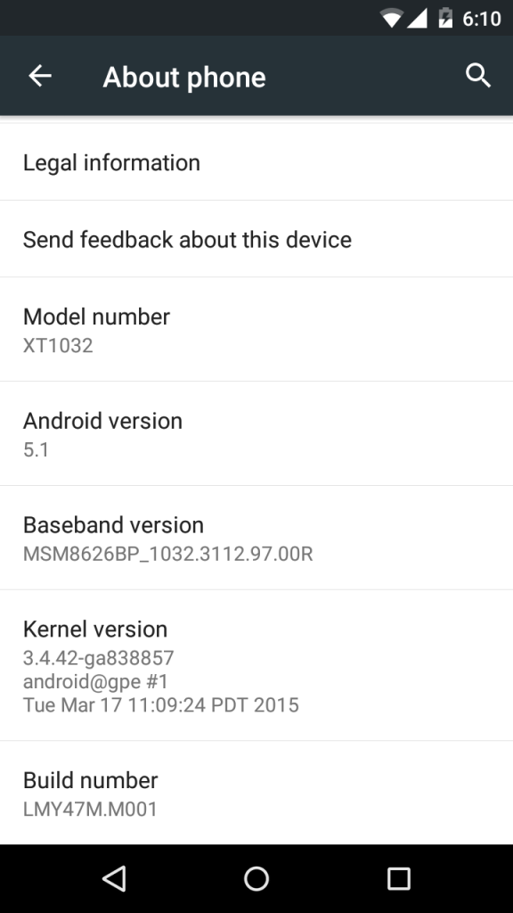 Android 5.1 on Moto G Google Play edition