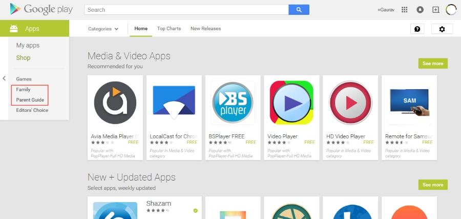 Google Play Family Category
