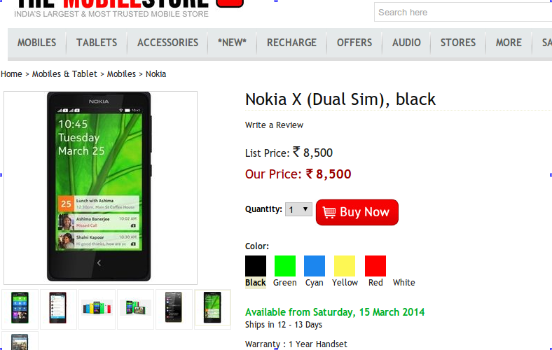 Nokia X at Mobile store