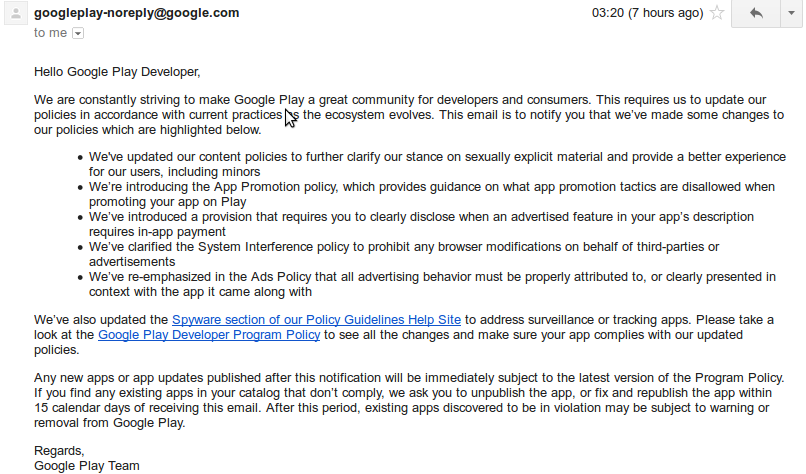 Google Play Developer Program Policy Update