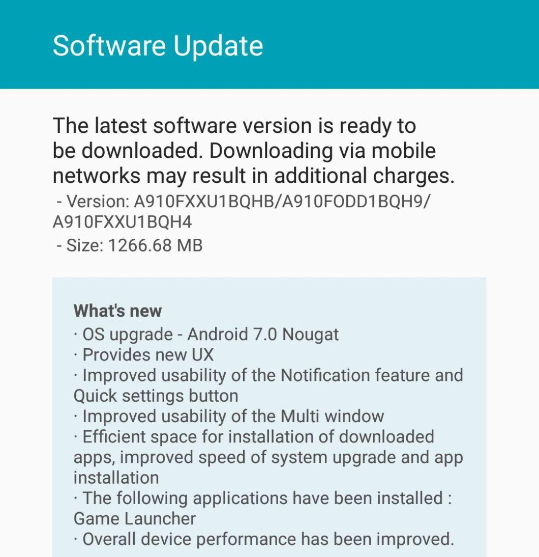 Samsung Galaxy A9 Pro Nougat update