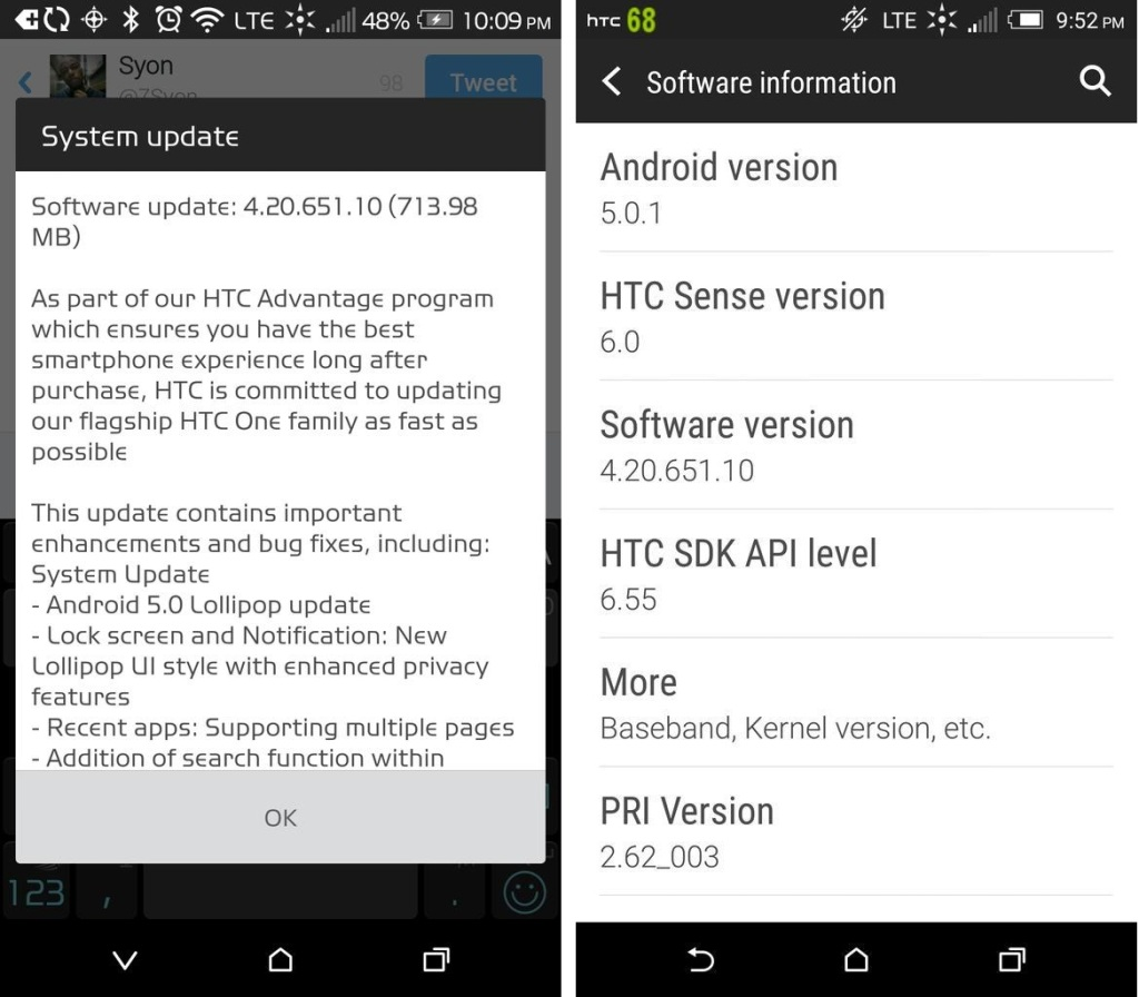 Lollipop update for Sprint HTC One M8