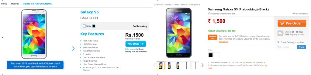 Samsung Galaxy S5 India pre-bookings