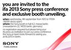 Sony IFA press invite