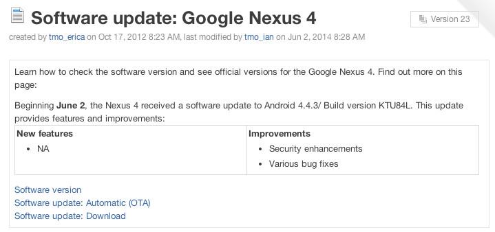 Nexus 4 Android 4.4.3 update