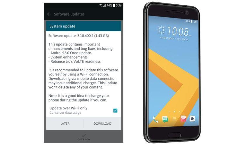 HTC 10 India Oreo update