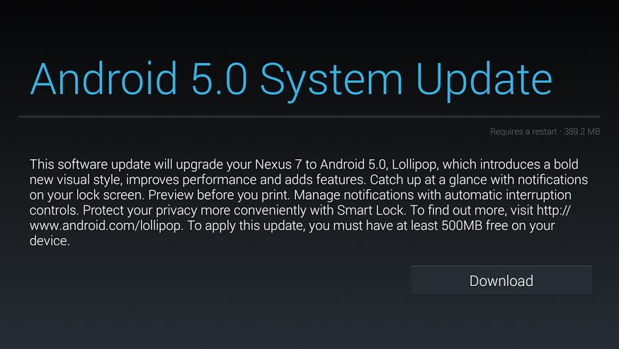 Android 5.0 OTA update