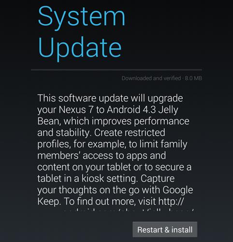 Nexus 7 2013 update