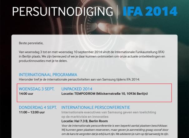 Samsung IFA Invite