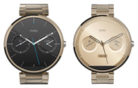 Gold Moto 360 with 23mm and 18mm bands