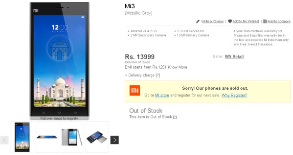 Xiaomi Mi 3 Sold out