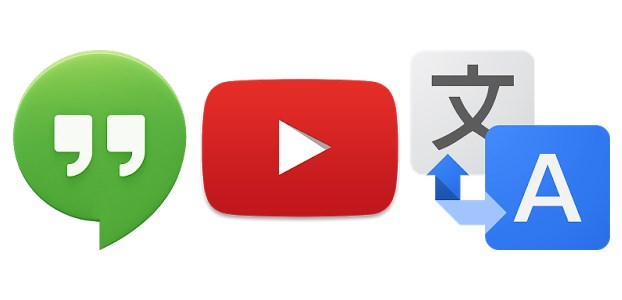 Google Translate, YouTube and Hangouts icons