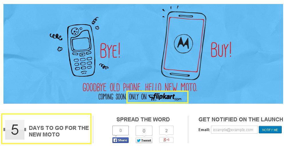 Moto E Flipkart Teaser India