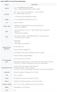 Galaxy TabPro 10.1 specs