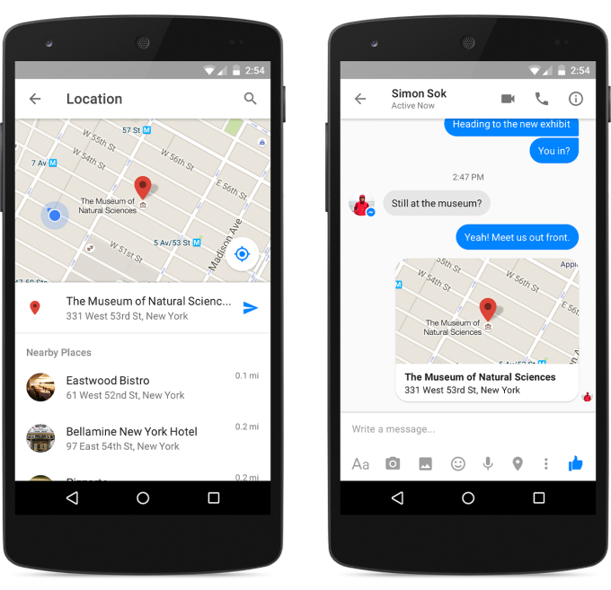 Location sharing in Messenger