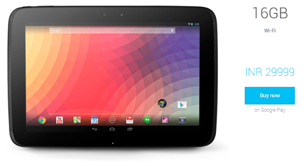 Google Nexus 10 India price