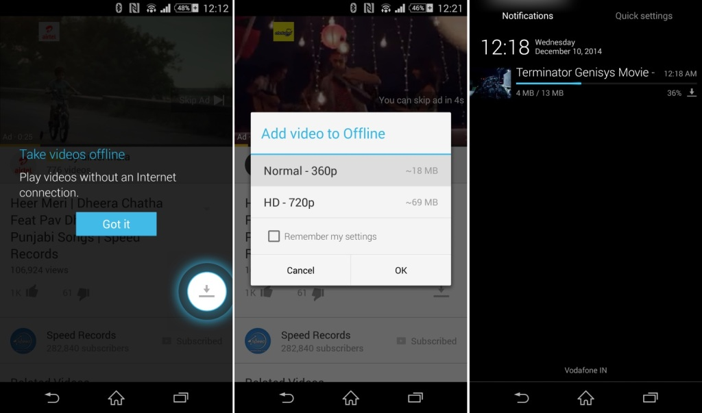 Offline support in YouTube for Android