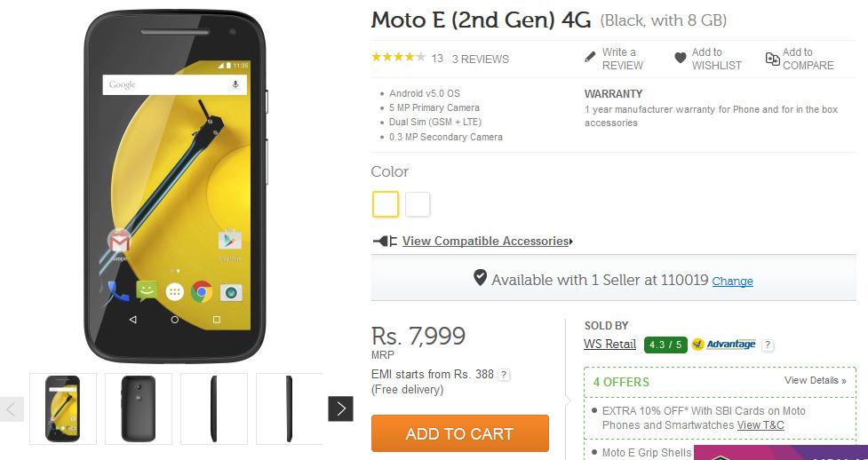 Moto E 2nd gen 4G at Flipkart