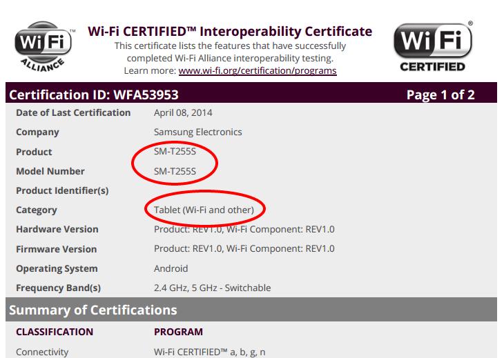 Samsung SM-T255 Wi-Fi Certificate