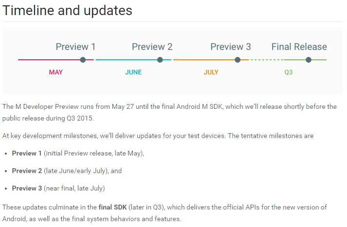 Android M preview updates