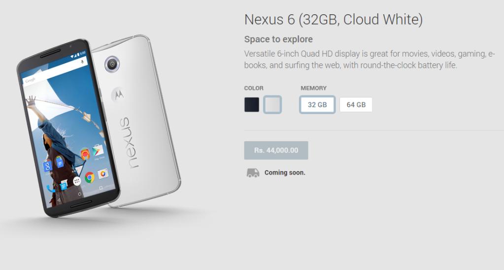 Nexus 6 at Google Play India