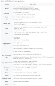 Galaxy TabPro 8.4 specs