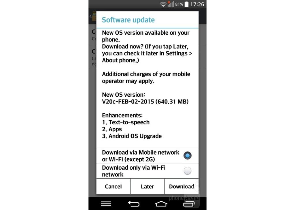 LG G Pro 2 Lollipop update