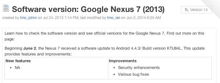 Nexus 7 Android 4.4.3 update