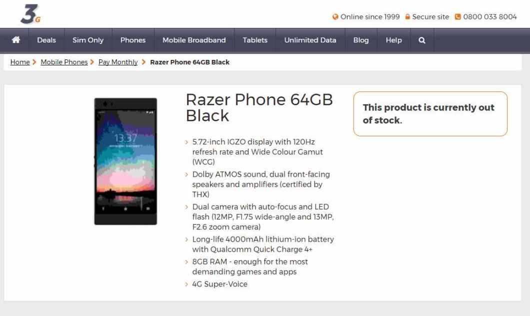 Razer Phone on 3g.co.uk