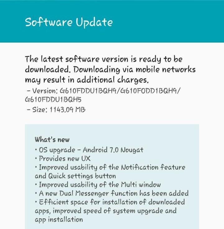 Samsung Galaxy J7 Prime update