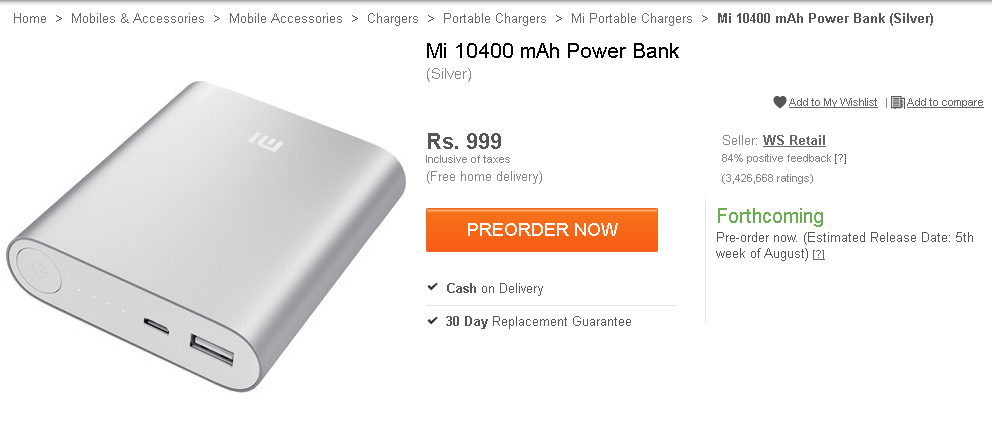 MI power bank pre-order