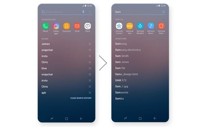 Samsung Device Search in Samsung Experience 9.0