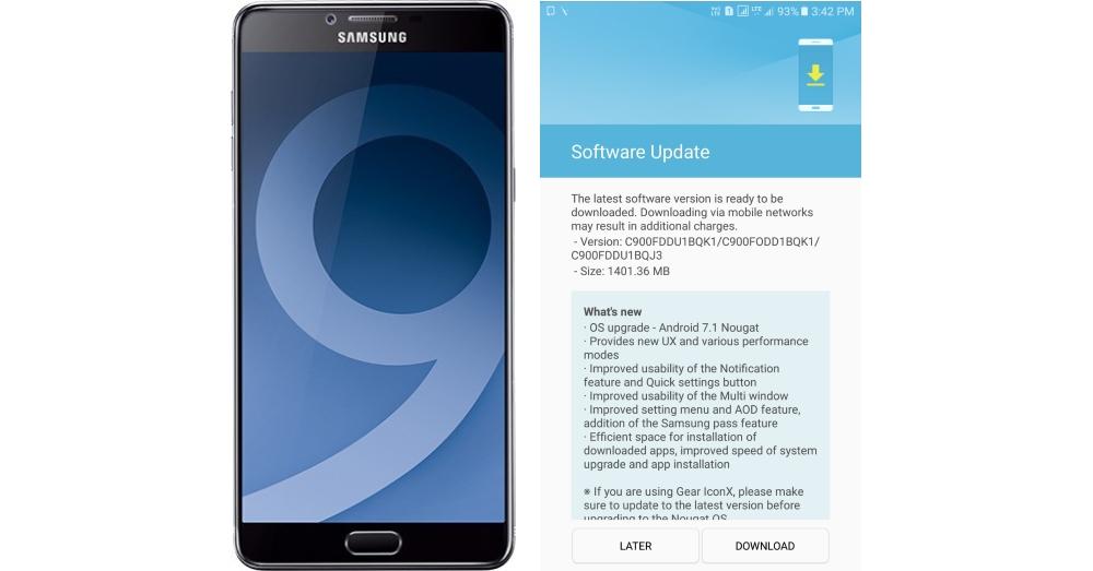 Samsung Galaxy C9 Pro Android 7.1.1 Nougat