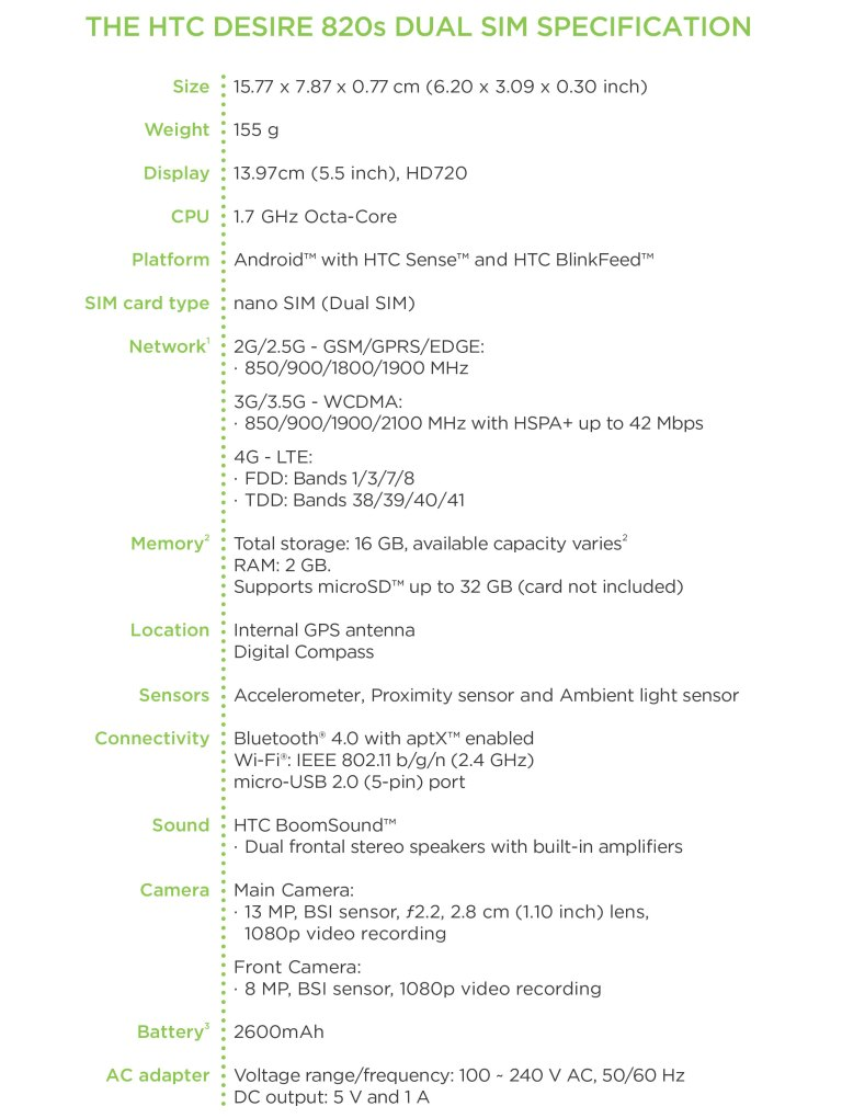 HTC Desire 820s specifications