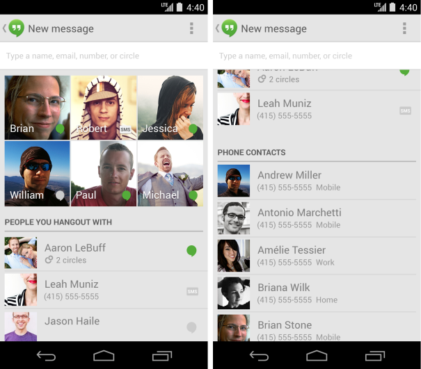 Hangouts Contacts list