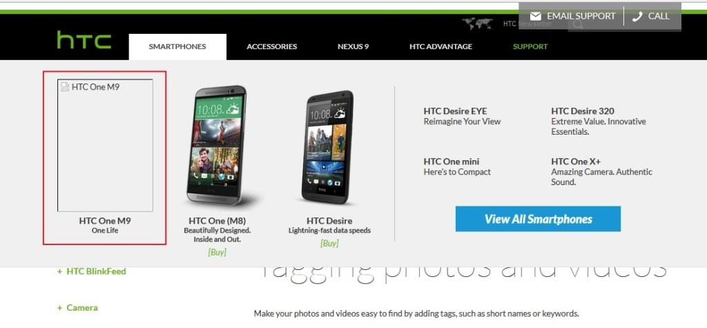 HTC One M9 on HTC website