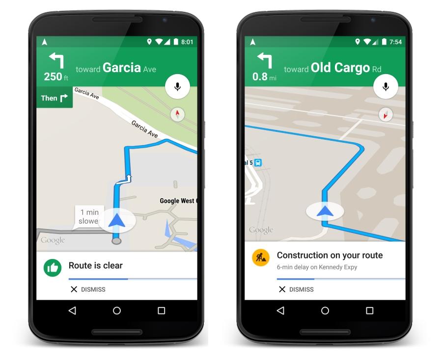 Google Maps traffic alerts