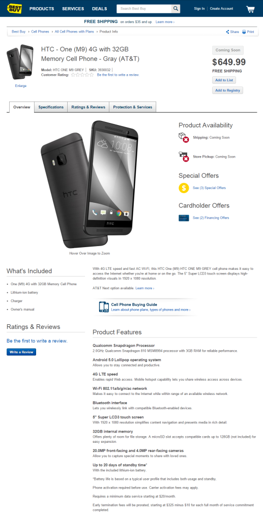 HTC One M9 4G at Best Buy