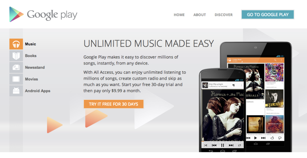 Google Play Music Canada