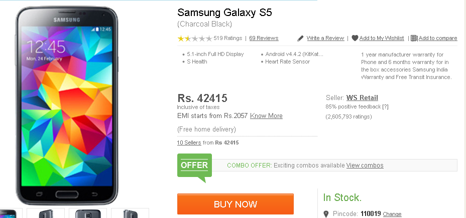 Samsung Galaxy S5 at Flipkart