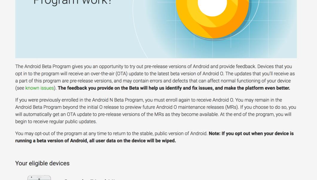 Android O Beta Program