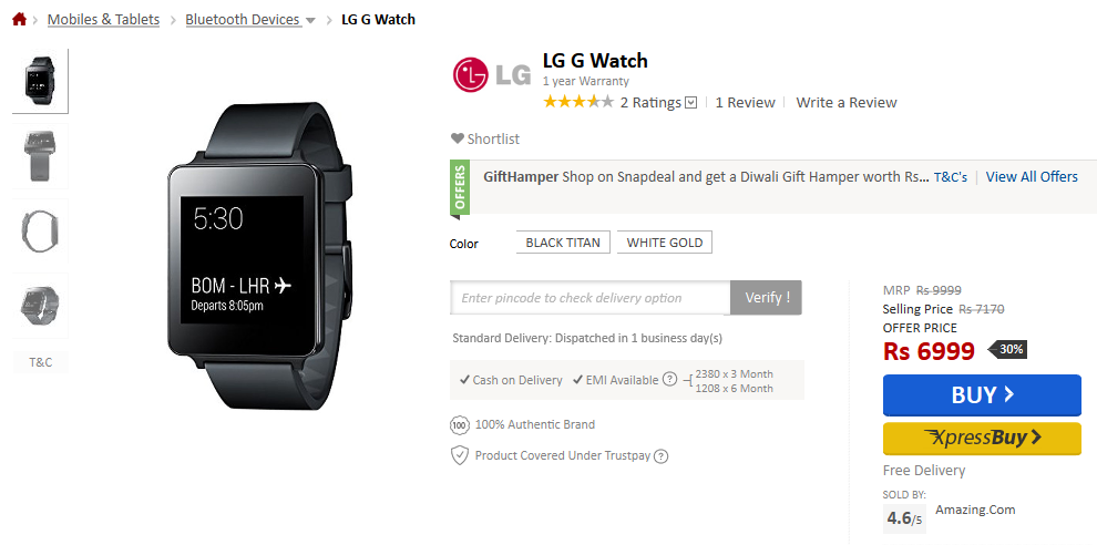 LG G Watch deal