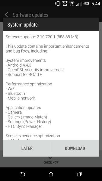 HTC One M8 update