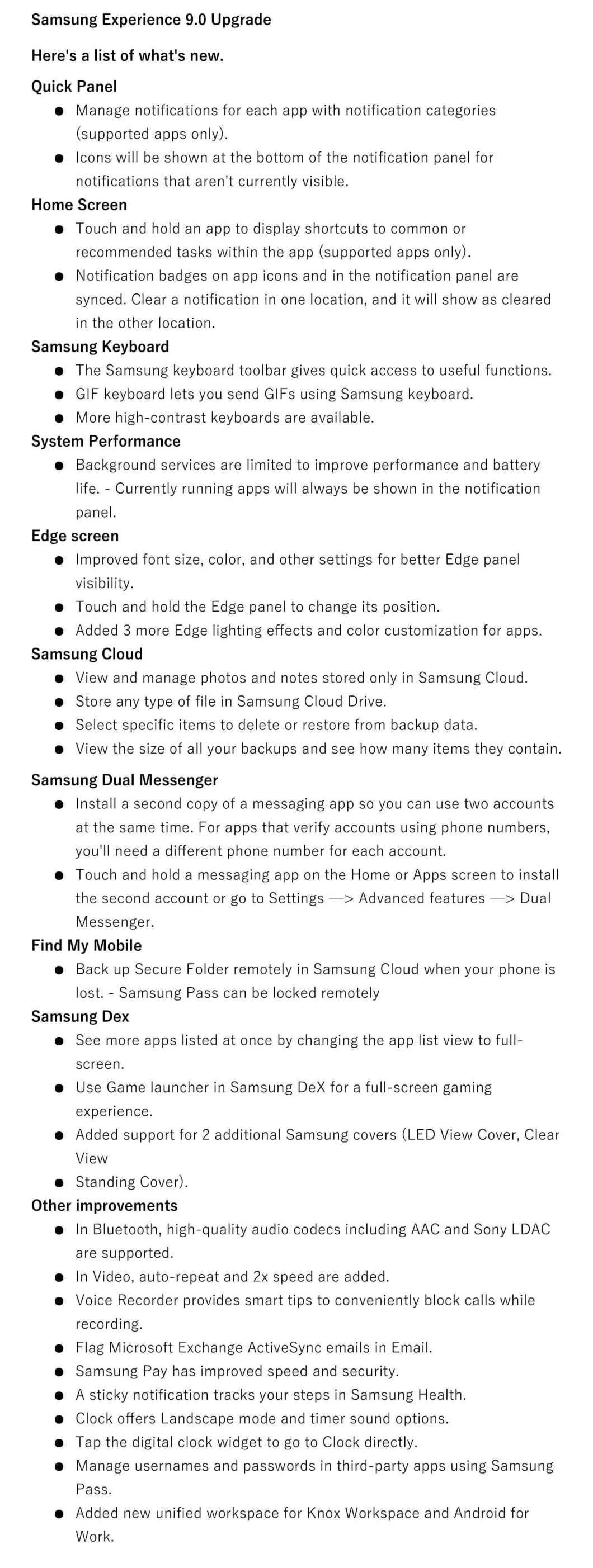 Samsung Galaxy S8 Oreo beta update changelog