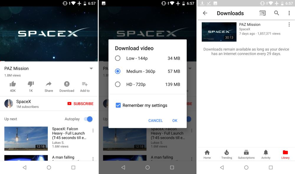 YouTube video download support